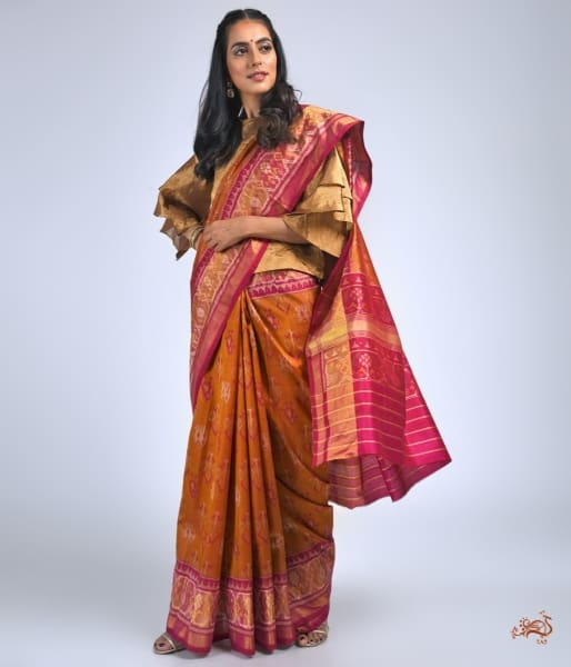 Rust And Pink Single Ikat Patola With A Tissue Border Saree Saree
