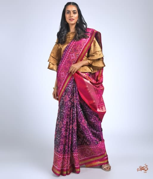 Beautiful Pure Silk Gujarat Patola Saree In Purple And Pink Combination Saree