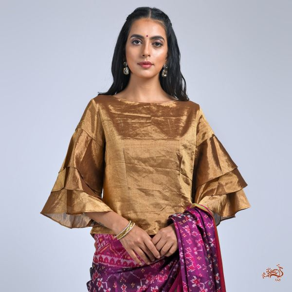Antique Gold Banarasi Tissue Blouse With Flared Sleeves Blouses/ Crop Tops