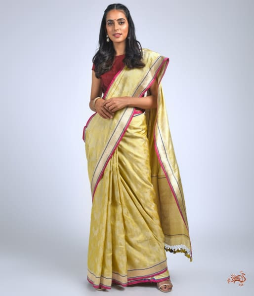 Lemon Yellow Self Weave Tanchoi With Kadhwa Border Saree