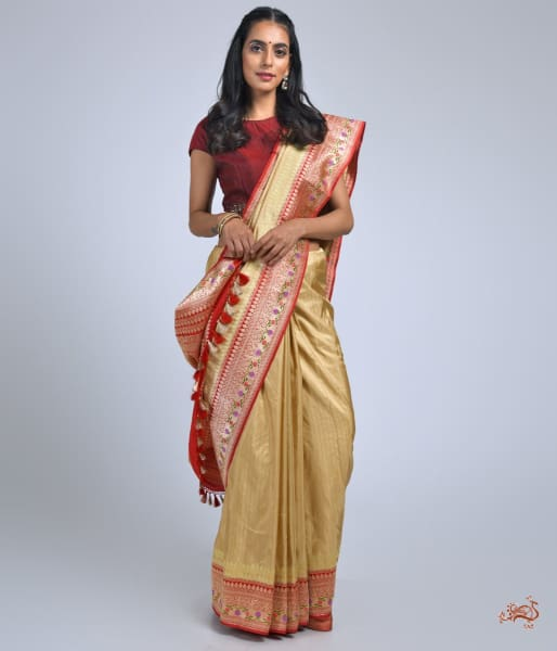 Beige Katan Silk Saree With Red Border And Pallu Saree