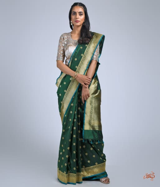 Emerald Green Katan Silk Saree With Asharfi Booti Saree