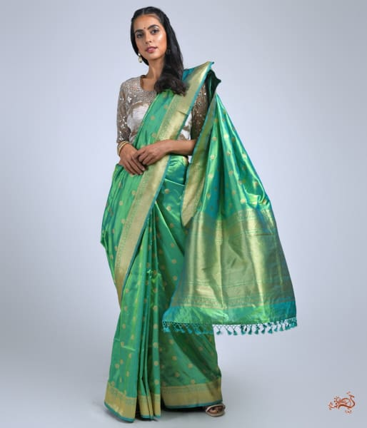 Forest Green Katan Silk Saree With Asharfi Booti Saree