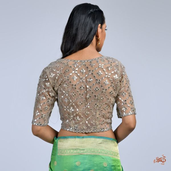 Pewter Color Banarasi Tissue Blouse With Gota Jaal Blouses/ Crop Tops