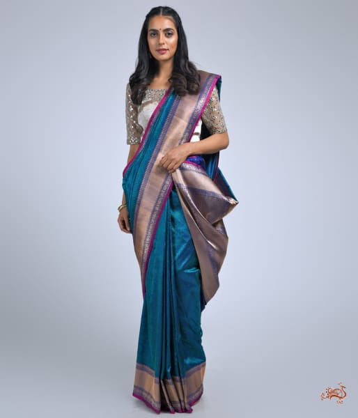 Royal Blue Banarasi Tanchoi Saree Saree