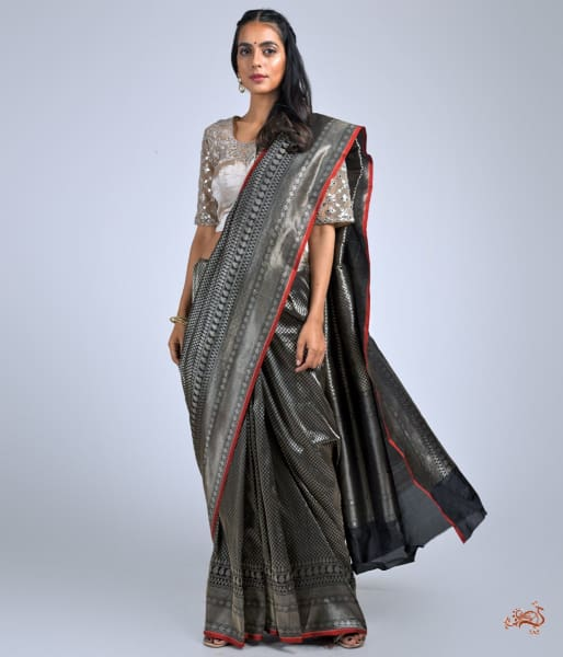 Black Polka Dots Saree With Red Selvedge Saree