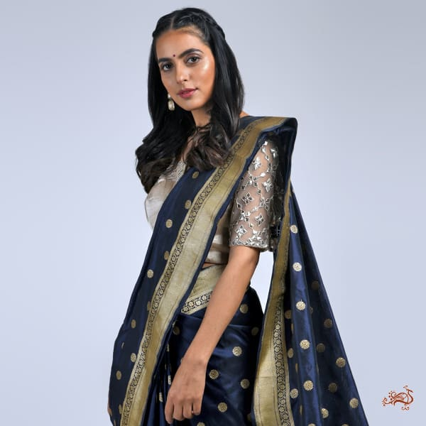 Dark Blue Katan Silk Saree With Asharfi Booti Saree