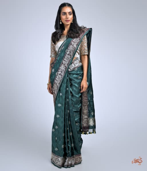 Bottle Green And Wine Banarasi Tanchoi Saree With A Parsi Gara Weave Border Saree
