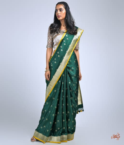 Bottle Green Banarasi Tanchoi Saree With Bird Motifs Saree