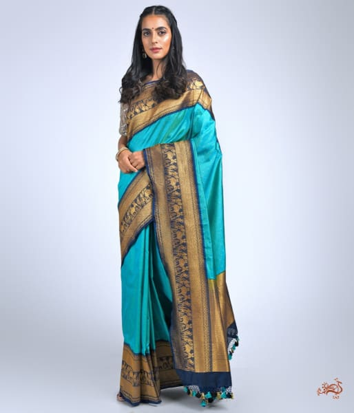 Teal Green Ektara Saree With Navy Border Warli Art Weave Saree