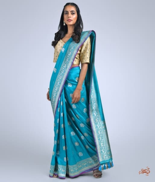 Turquoise Gulaab Boota Saree With Shikargah Border Saree