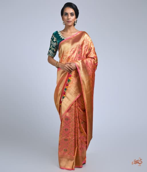 Peach Pink Cutwork Jangla With Meenakari Saree Saree