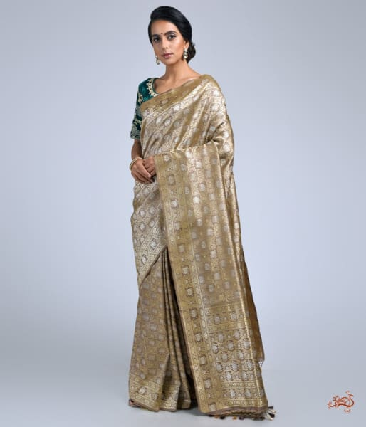 Light Brown Banarai Kimkhwab Saree With Real Zari Finishings Saree