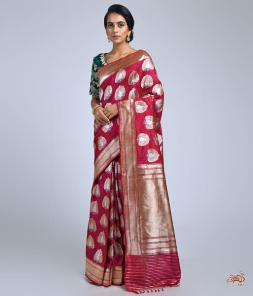 Wine Katan Silk Saree With Heavy Gold Zari And Meenakari Motifs Saree