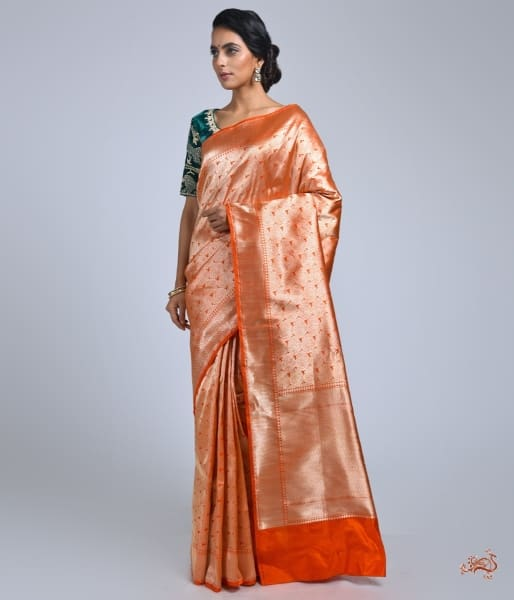 Orange And Gold Banarasi Brocade Saree Saree