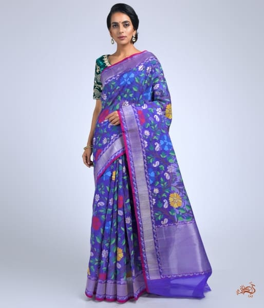 Purple And Blue Dual Tone Real Zari Jamdani Weave Saree Saree