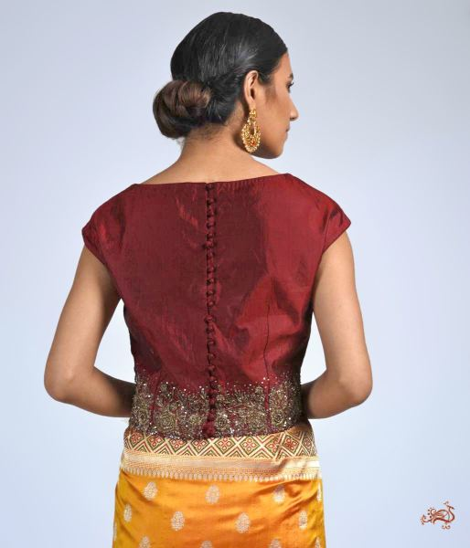 Mahroon Pure Silk Blouse With Zardozi Blouses/ Crop Tops