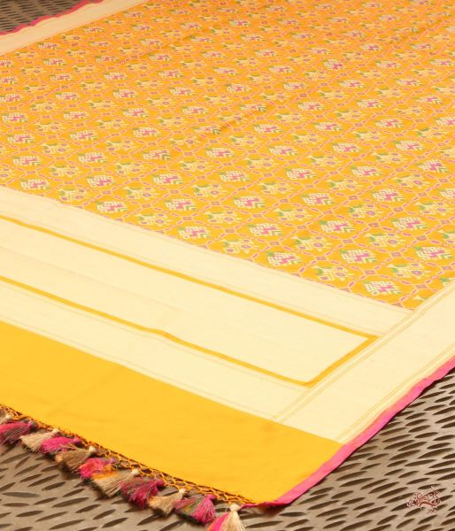 Yellow Katan Silk Dupatta With Meenakari Patola Design Dupatta