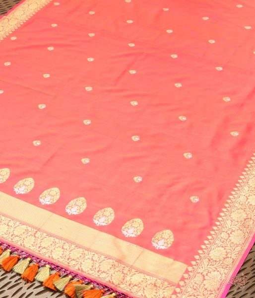 Hot Pink And Orange Katan Silk Dupatta With Kadhwa Booti Border Pallu Dupatta