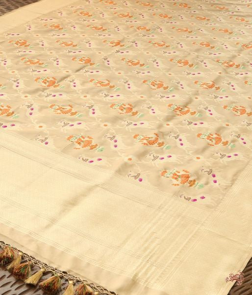 Beige And Gold Pure Katan Silk Dupatta With Krishna His Cows Dupatta