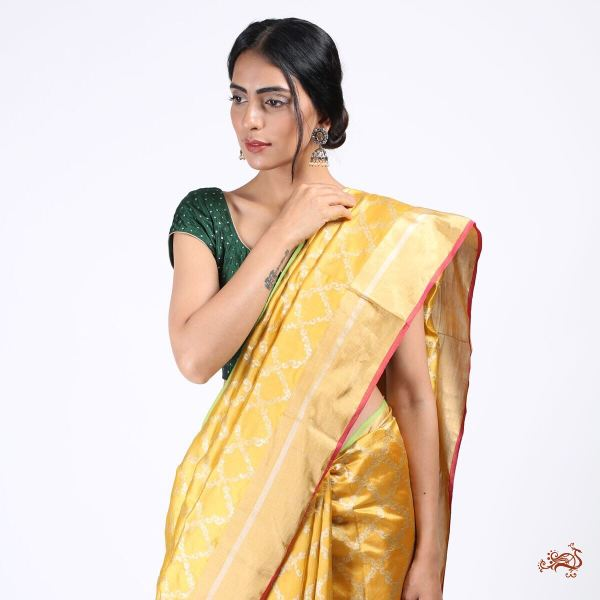 03c4bb95e26994 Beautiful mustard yellow Chanderi silk Saree with a hot pink blouse ...