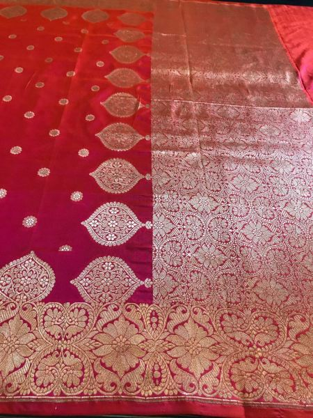 Pink And Red Katan Silk Dupatta With Gold Zari Motifs Dupatta
