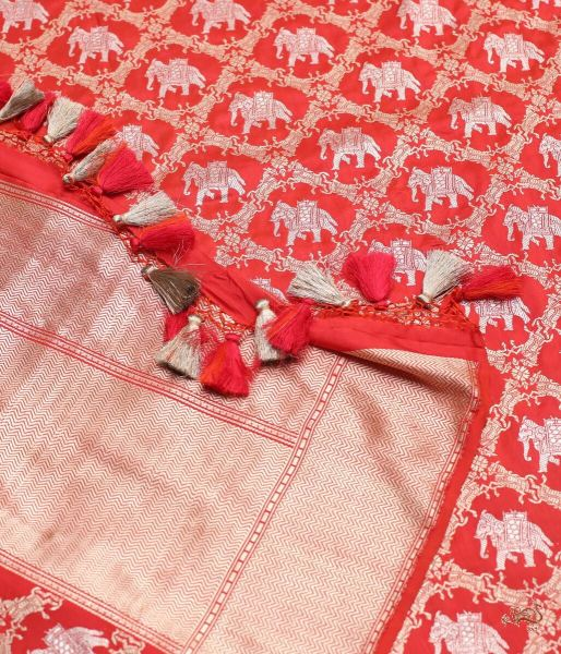 Red Katan Silk Jangla Dupatta With Woven Elephant And Horse Motifs