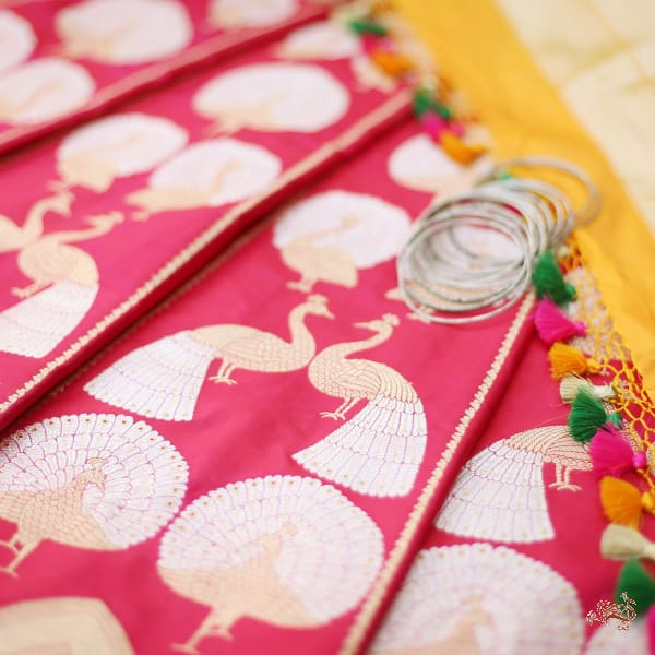 Handwoven Banarasi Lehenga In Pink With Birds