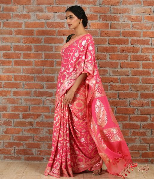 Peach Pink Ombre Dyed Handwoven Pure Gorgette Saree Saree