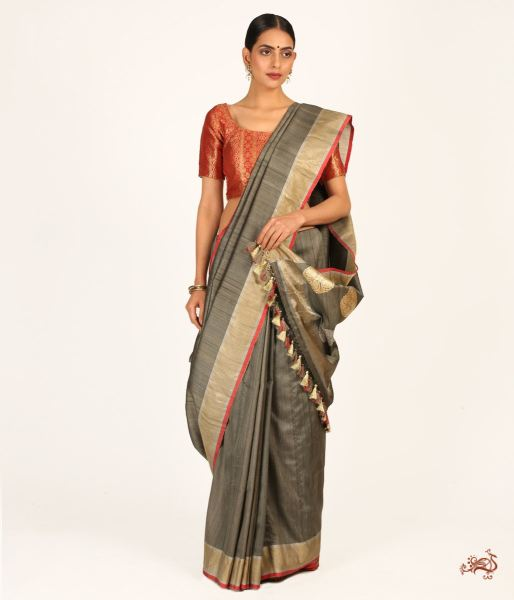 Olive Green Pure Banarasi Tusser Saree A With Heavy Palla And Brocade Blouse Saree