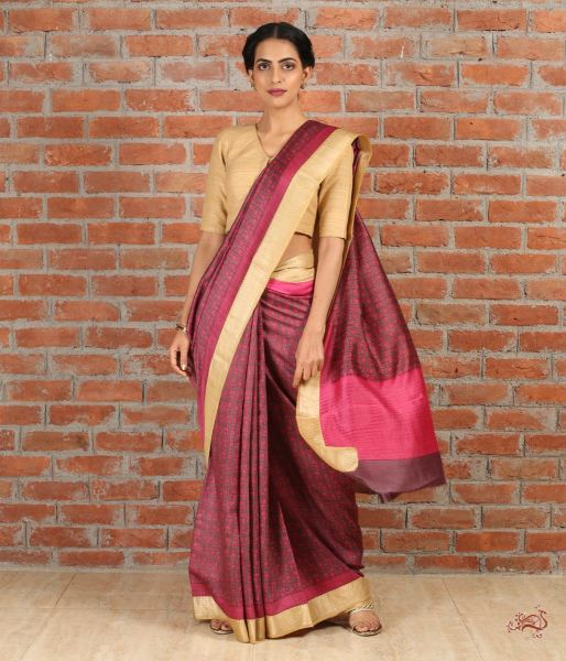 Brown Pink Jewel Tone Pure Tusser Saree With Weaving Border Saree