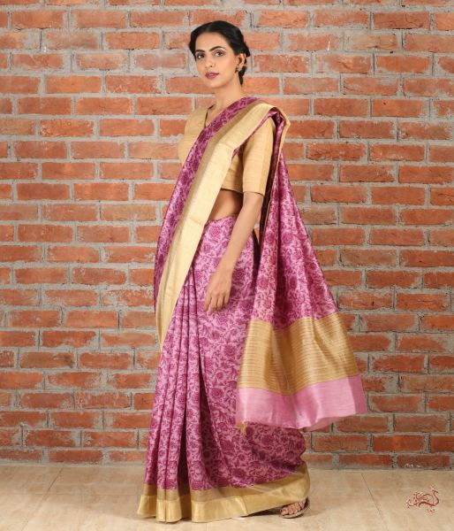 Lilac And Beige Handwoven Pure Tusser Silk Saree Saree