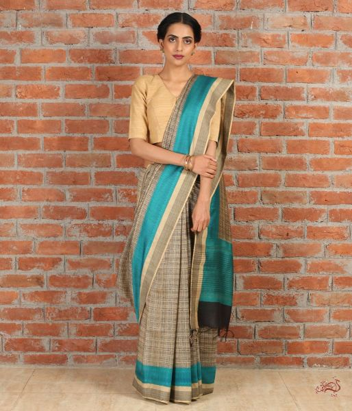 Beige And Blue Handwoven Pure Tusser Saree Saree