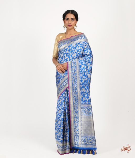 Royal Blue Kadhwa Shikargah Saree Saree