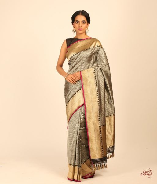 Handwoven Banarasi Tanchoi In Black And Gold Saree