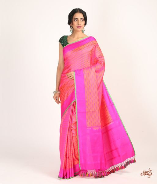 Pink And Orange Tanchoi Saree With No Zari Saree
