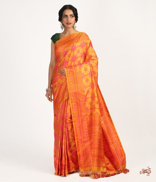 Mustard And Pink Jamawar Saree With No Zari Saree