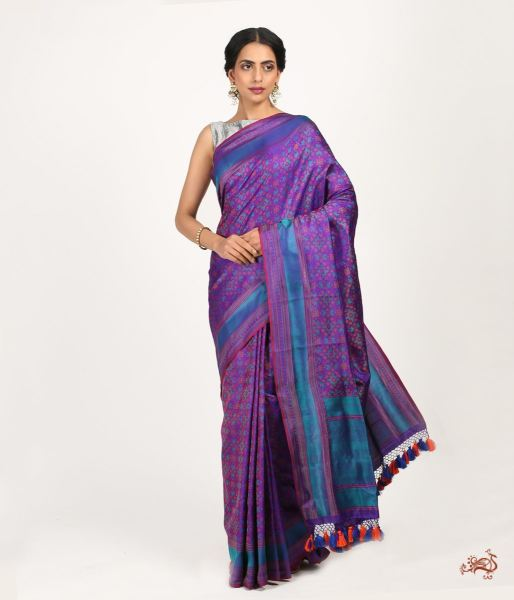 Purple And Blue Pure Satin Jamawar Saree Saree