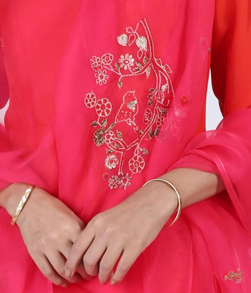 Hand Embroidered Pure Silk Ensemble In Tomato Red Ready To Wear Silk Ensembles