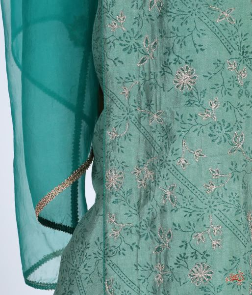 Hand Embroidered Pure Silk Ensemble In Green Ready To Wear Silk Ensembles