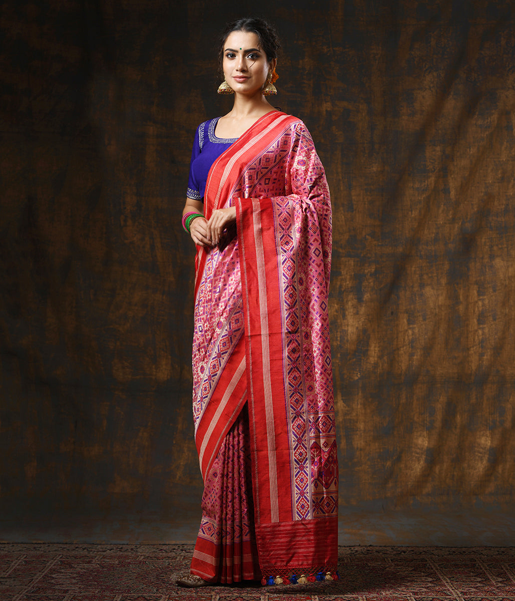 Handwoven Pink Meenakari Banarasi Patola with Silk Borders