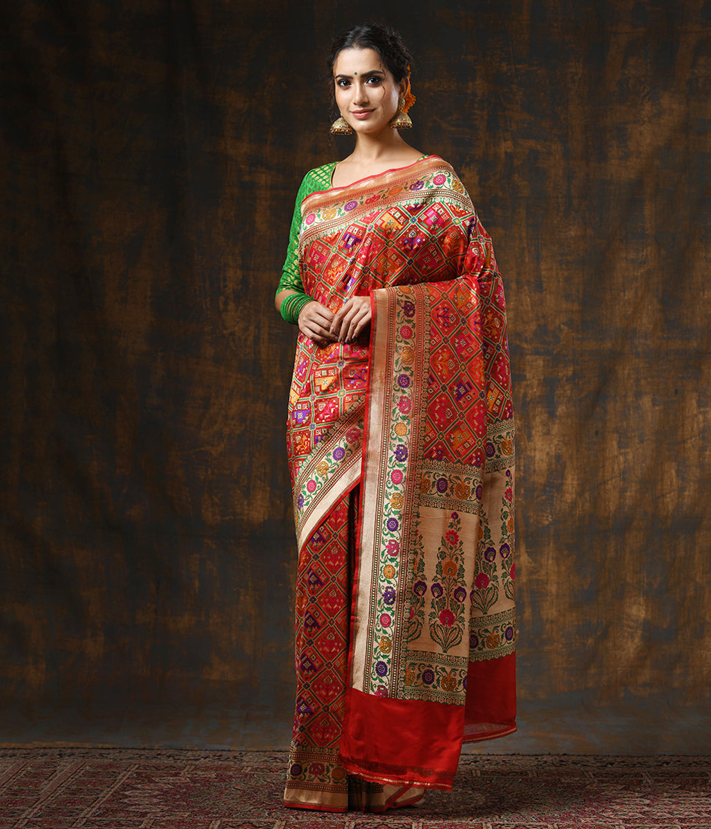 Handwoven Red Banarasi Patola with Meenakari