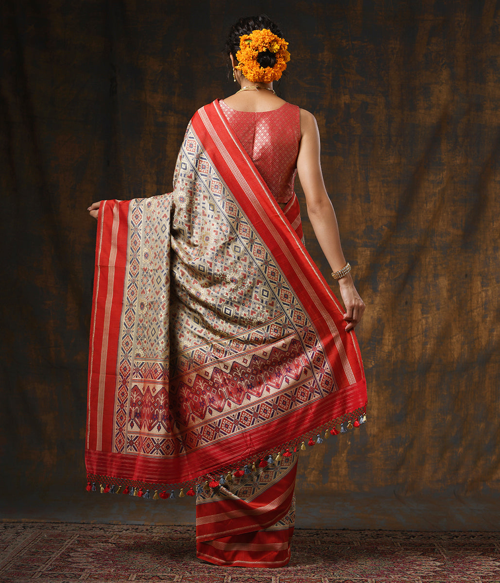 Handwoven Grey Meenakari Banarasi Patola with Silk Borders