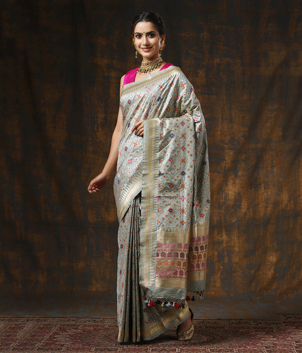 Handwoven Light Grey Meenakari Banarasi Patola