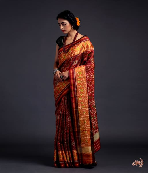 Mahroon Single Ikat Patola Saree With Tissue Border Saree