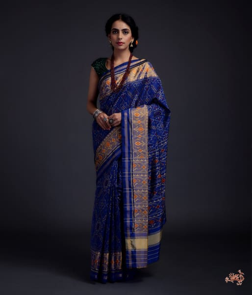 Navy Blue Single Ikat Patola Saree With Tissue Border Saree