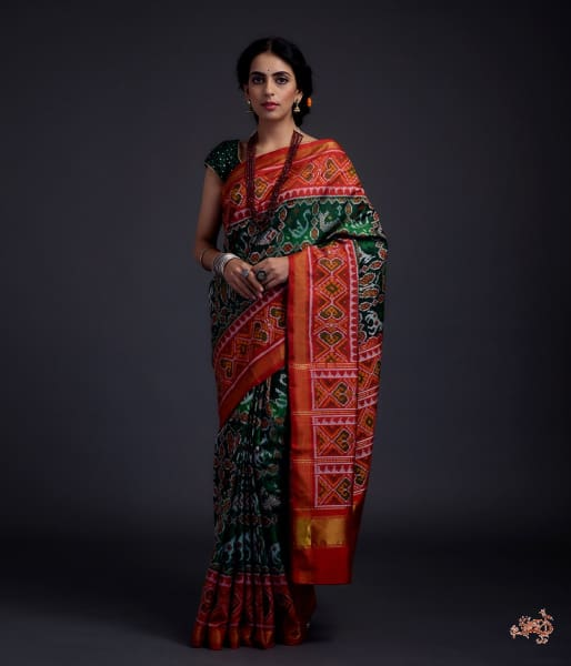 Pure Silk Gujarat Patola Saree In Emerald Green And Red With Horse Swan Fish Motifs Saree