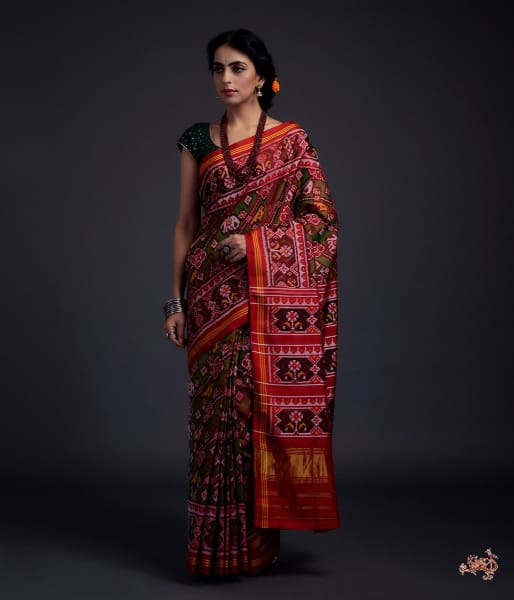 Pure Silk Gujarat Patola Saree In Green And Red Dual Animal Motifs Woven Diagonally Saree