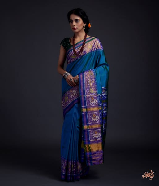 Turquoise Blue Single Ikat Patola Saree With Tissue Border Saree