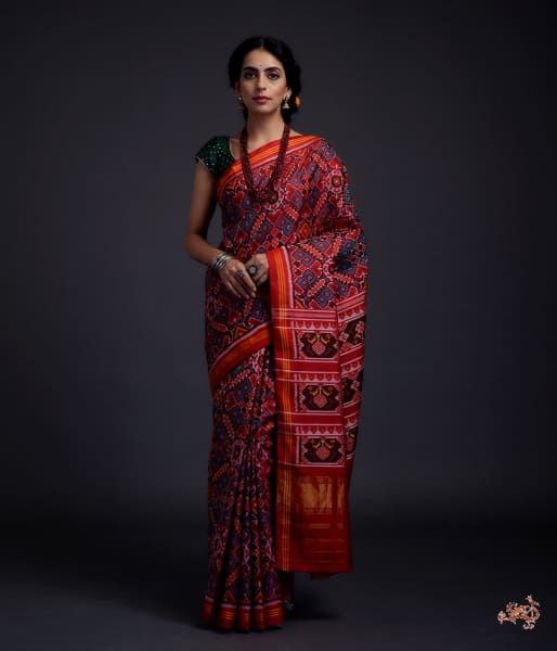 Pure Silk Gujarat Patola Saree In Blue And Red Dual Tone The Famous Paan Bhaat Weave Saree